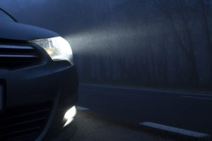 Headlights in the dark.